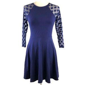 Express Blue Polka Dot Sleeve Fit & Flare Dress